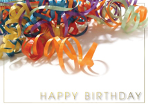 Colorful Curled Ribbons Birthday Greeting Cards